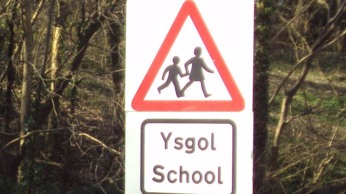 Welsh school sign