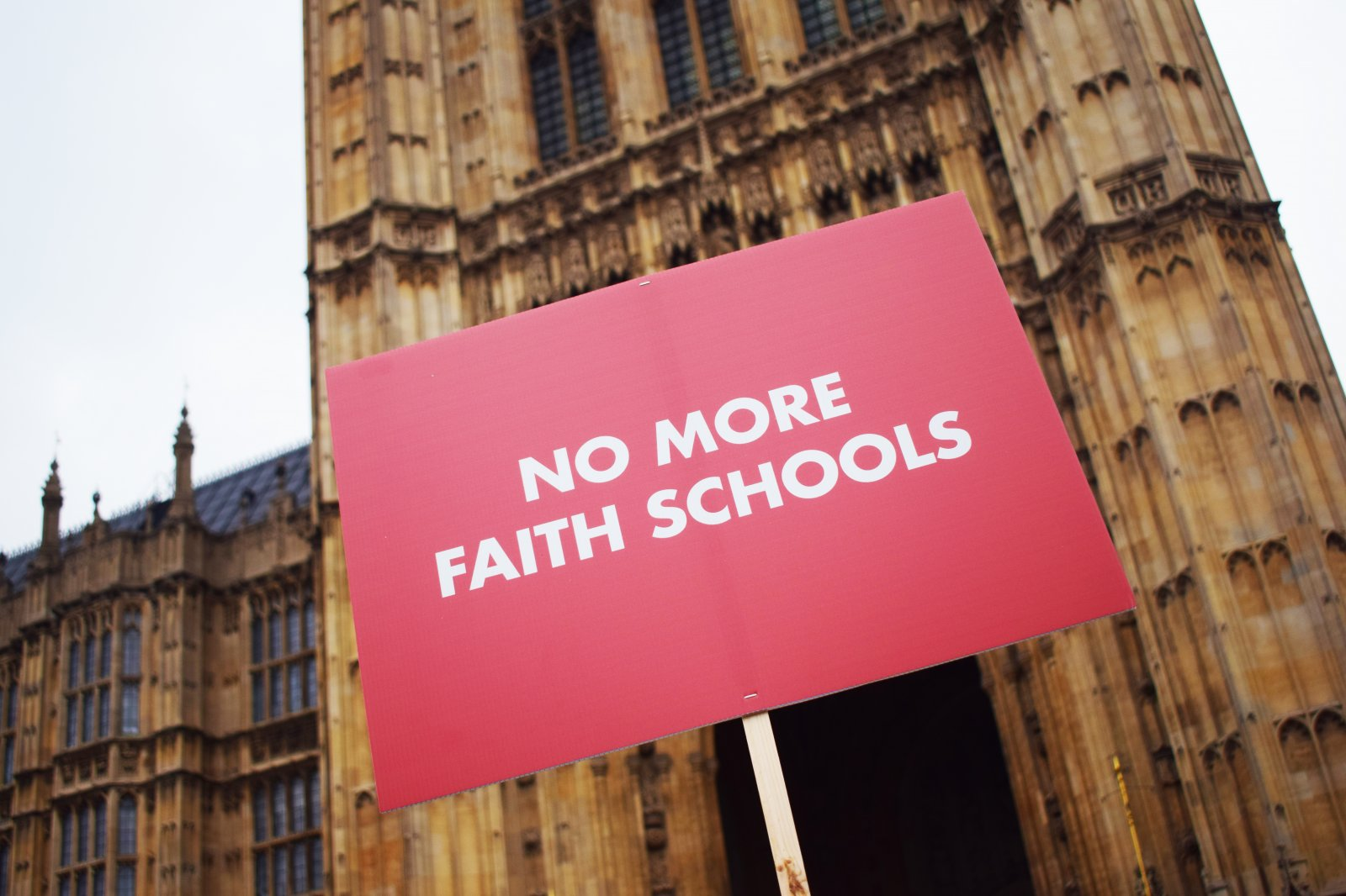 No More Faith Schools placard