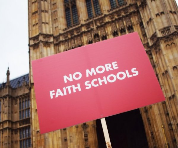 No More Faith Schools protest outside parliament